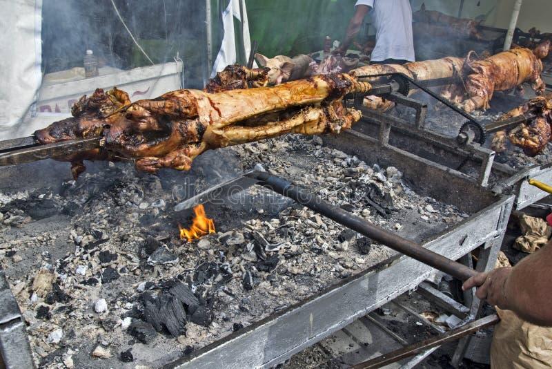 烤在格栅和火的年轻小猪 免版税库存照片