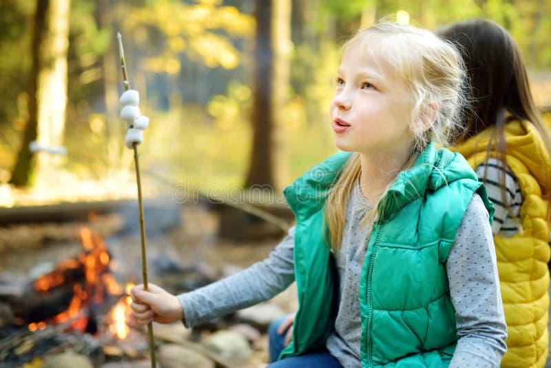 烤在棍子的逗人喜爱的年轻姐妹蛋白软糖在篝火 孩子获得乐趣在阵营火 野营与秋天的孩子 免版税库存照片