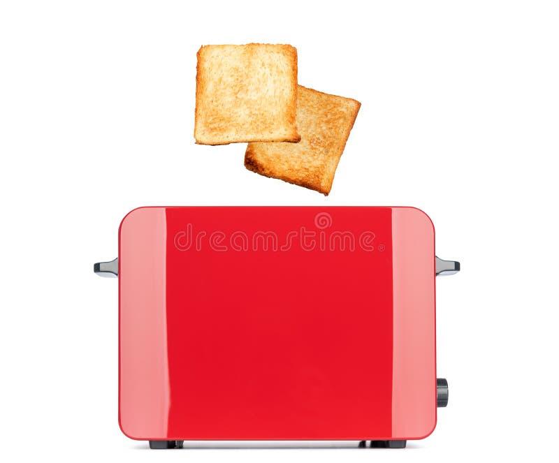 烤多士面包突然出现红色多士炉,隔绝在白色背景 文件包含一条道路对隔离 免版税库存图片