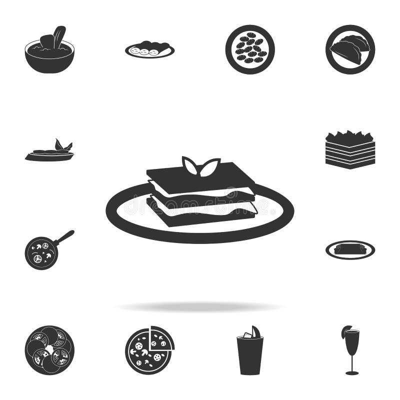烤宽面条象 详细的套意大利食物例证 优质质量图形设计象 其中一个我们的汇集象 库存例证