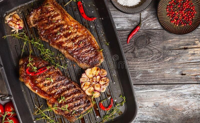 烤小条牛排用香料 图库摄影