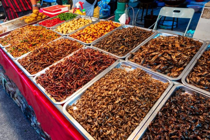 烤昆虫、蠕虫和蝎子当街道食物在曼谷 库存图片