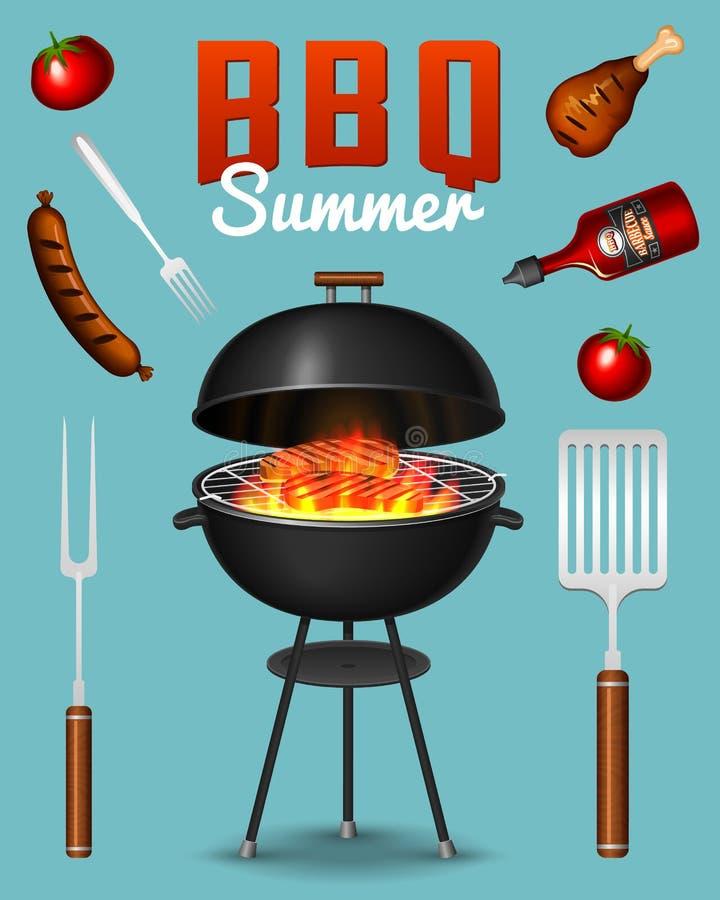 烤格栅在红色背景隔绝的元素集 Bbq党海报 新的成人 肉餐馆在家 木炭 向量例证