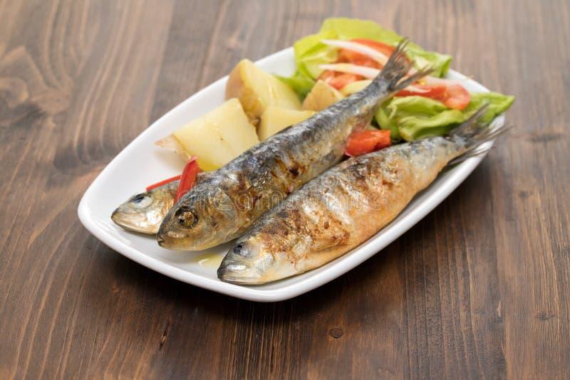 烤沙丁鱼用煮沸的土豆和沙拉在白色板材 免版税库存图片