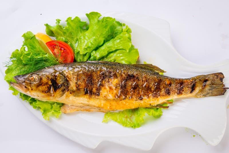 烤海鱼从上面 库存照片