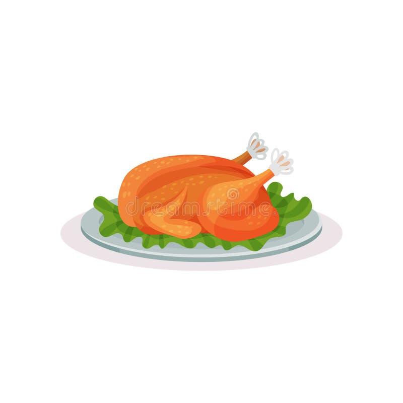 烤火鸡,在白色背景的传统圣诞节食物传染媒介例证 皇族释放例证