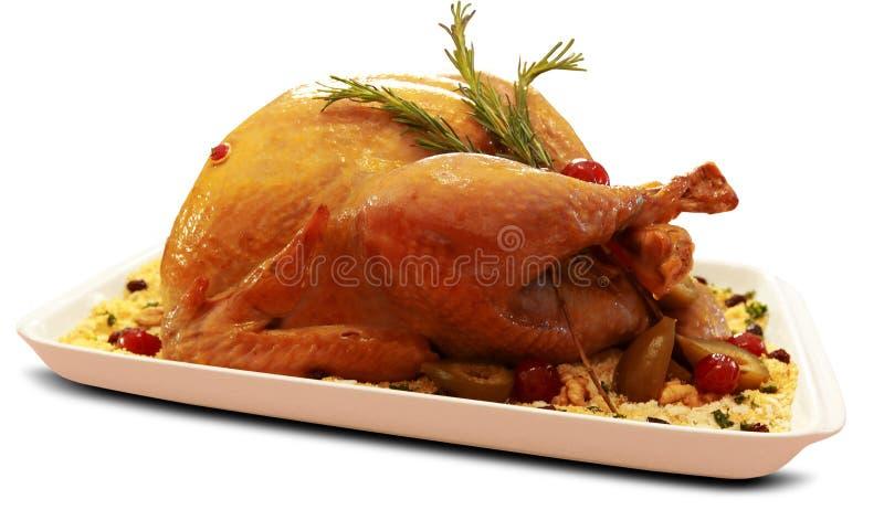 烤火鸡 感恩桌在白色背景中服务用火鸡 免版税库存图片