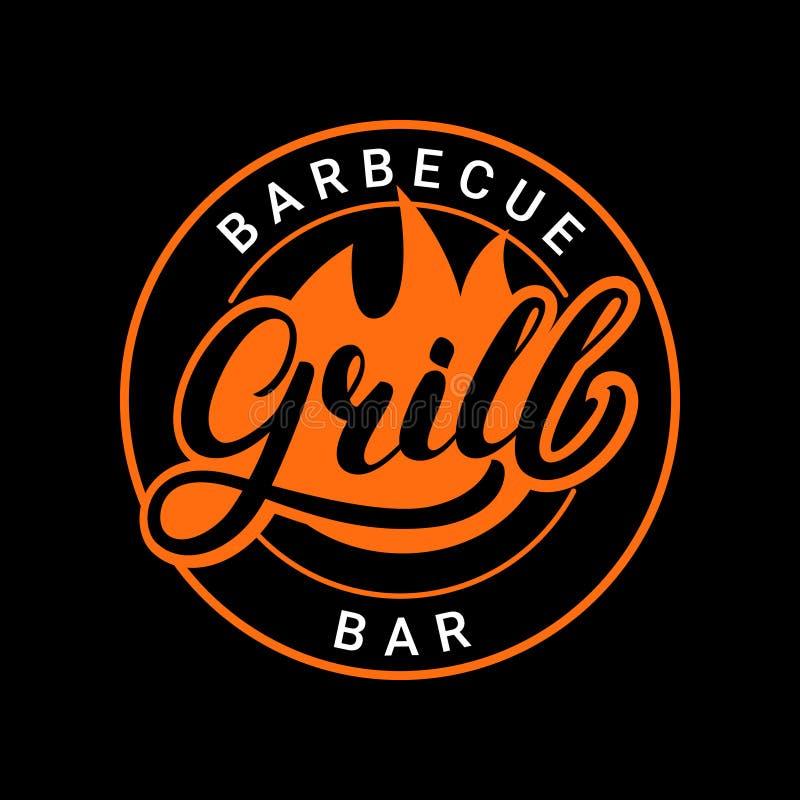 烤烤肉书面的酒吧手在商标、标签、徽章或者象征上写字与火 向量例证