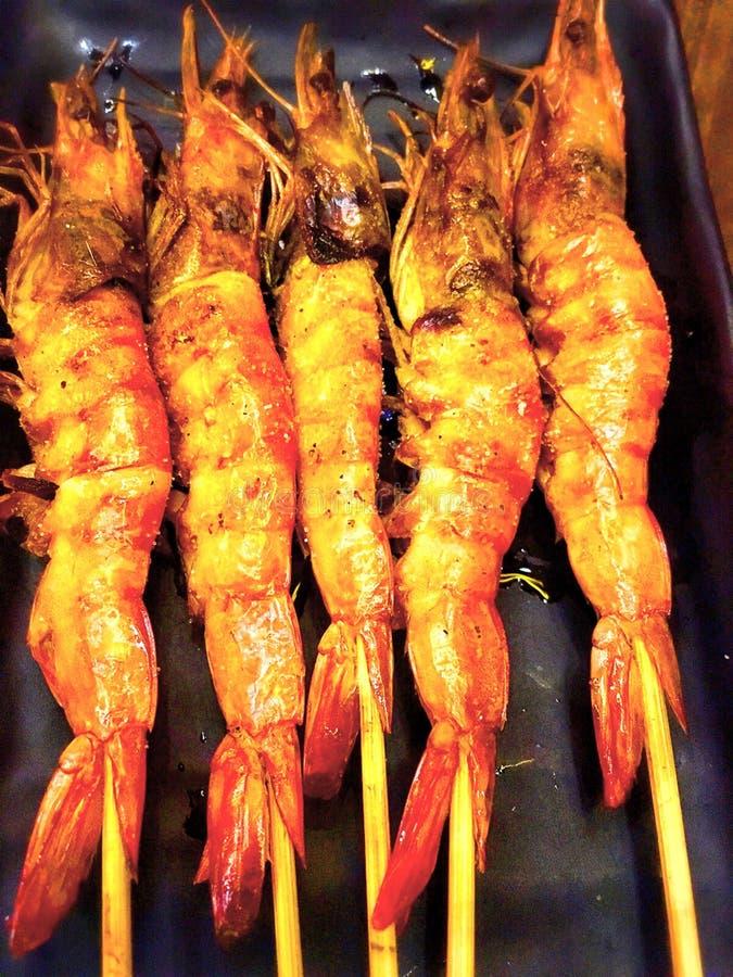 烤热的盐日本人烹调大虾  免版税图库摄影