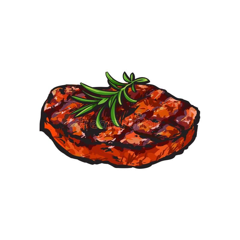烤牛排,牛排用迷迭香 皇族释放例证