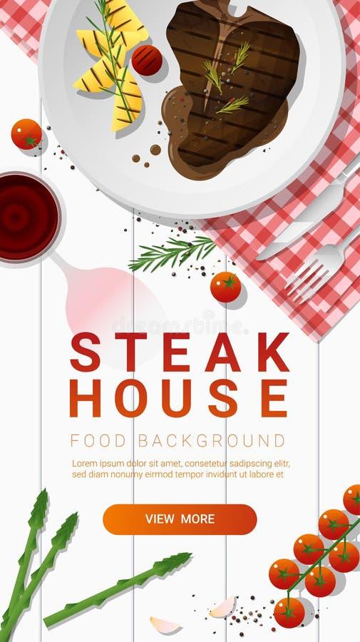 烤牛肉、丁骨牛排和香料用红葡萄酒在白色桌背景 库存例证