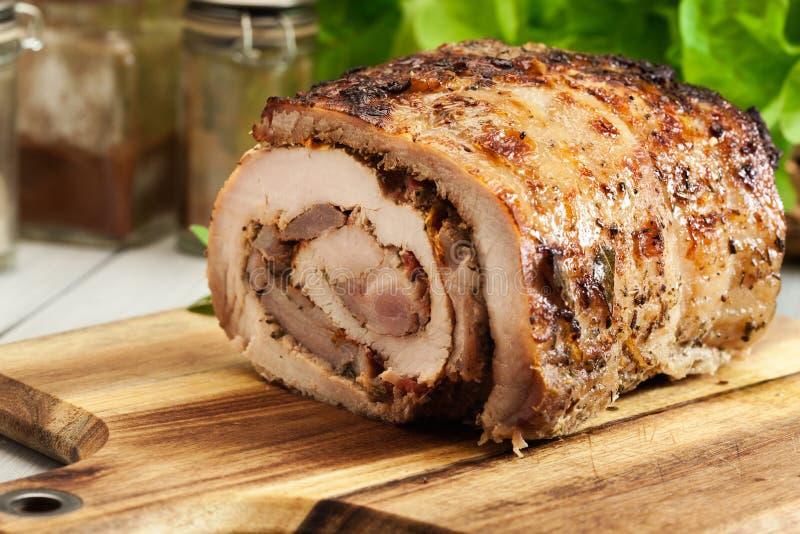 烤猪肉卷充塞用其他肉和干蕃茄 图库摄影