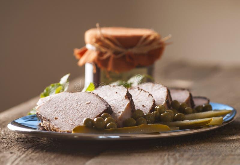 烤猪肉腰部 库存图片