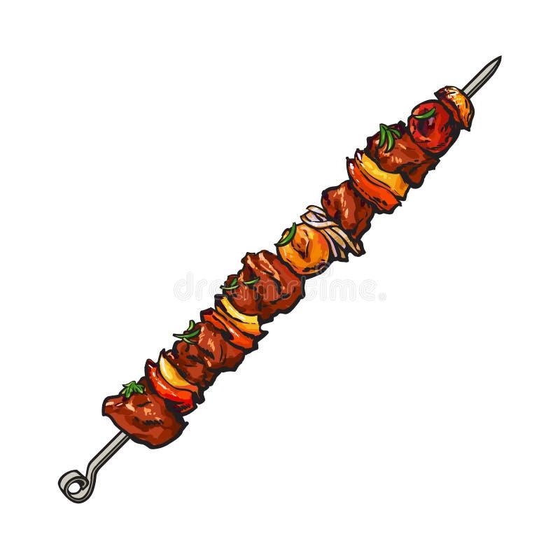 烤猪肉,在棍子, shashlik, kebab的牛肉肉 库存例证
