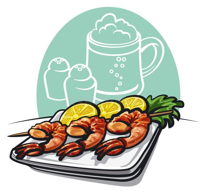 烤的虾 免版税图库摄影