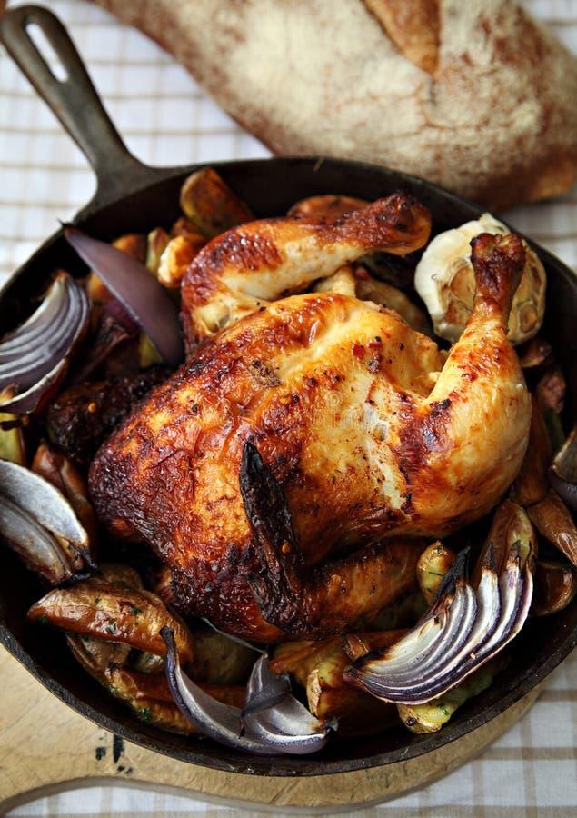 烤的鸡平底锅 免版税库存照片