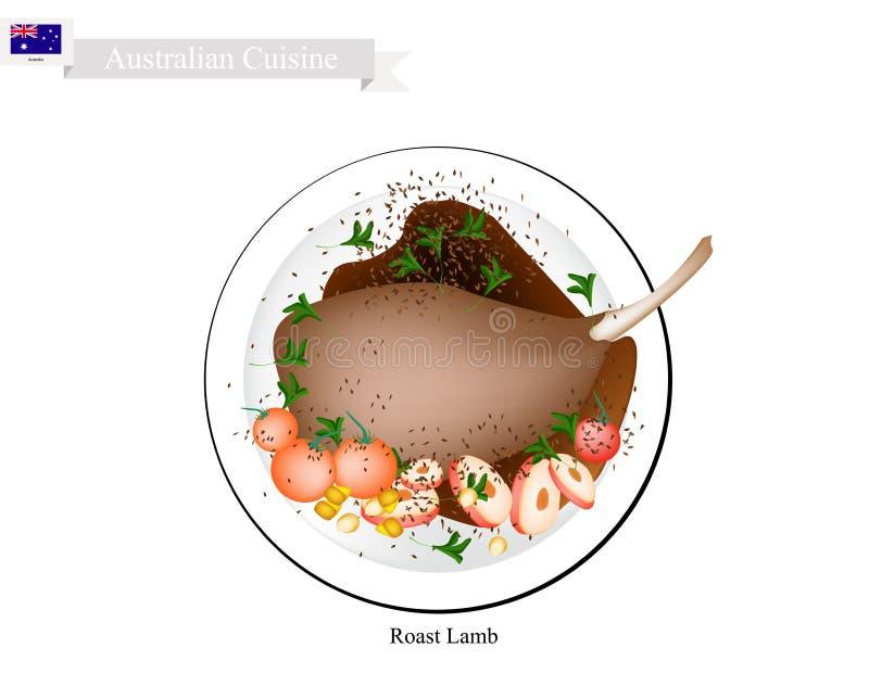 烤羊羔腿,澳大利亚的名菜 向量例证