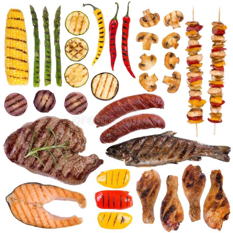 烤肉、鱼和菜 免版税库存图片