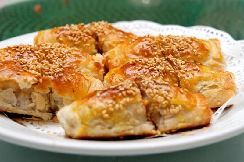 烤肉中国酥脆酥皮点心猪肉 库存照片