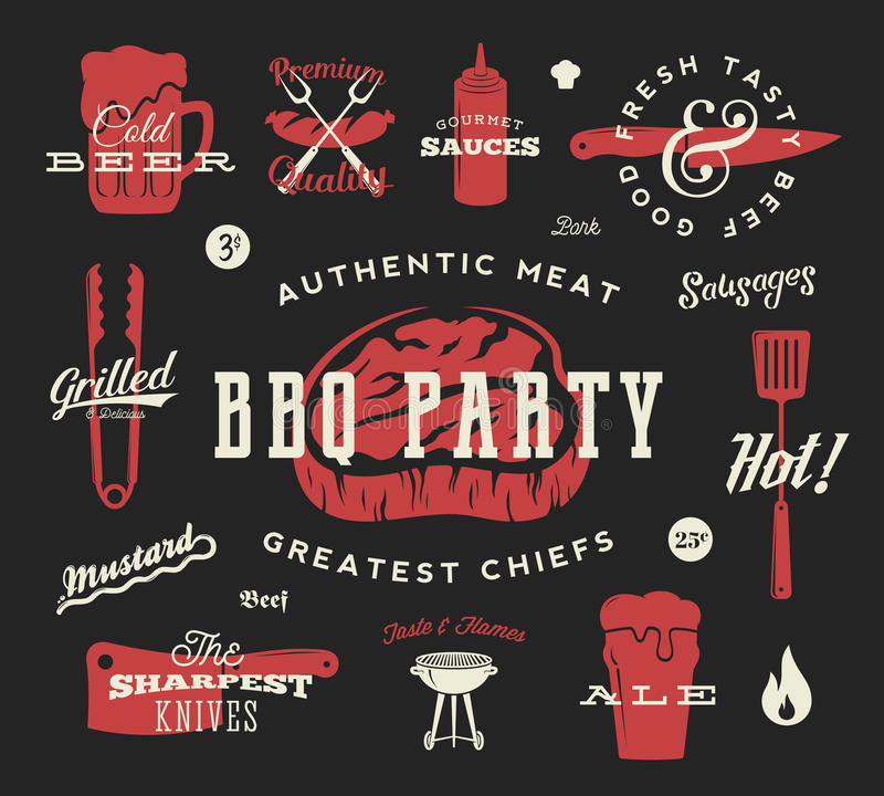 烤肉党传染媒介减速火箭的符号集 肉和啤酒象印刷术样式 牛排,香肠,格栅标志 在黑暗的红色 库存例证
