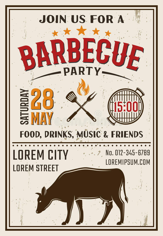 Download 烤肉党减速火箭的样式海报 向量例证. 插画 包括有 海报, 庆祝, 猪肉, 食物, 减速火箭, 登记, 母牛 - 72361402