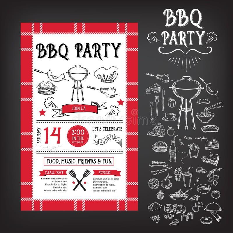 烤肉党邀请 BBQ模板菜单设计 食物飞行物 向量例证