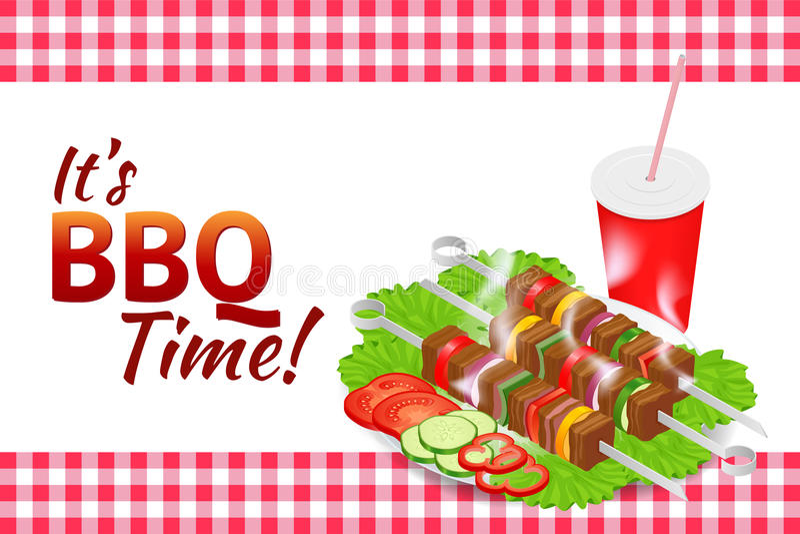 烤肉党水平的横幅 格栅夏天食物 烹调设备的野餐 平的等量例证 骑自行车儿童系列父亲周末 向量例证