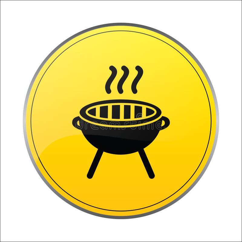 烤肉工具象签到黄色背景 库存例证