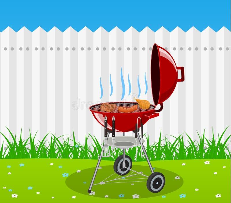 烤肉格栅和厨房器物 皇族释放例证