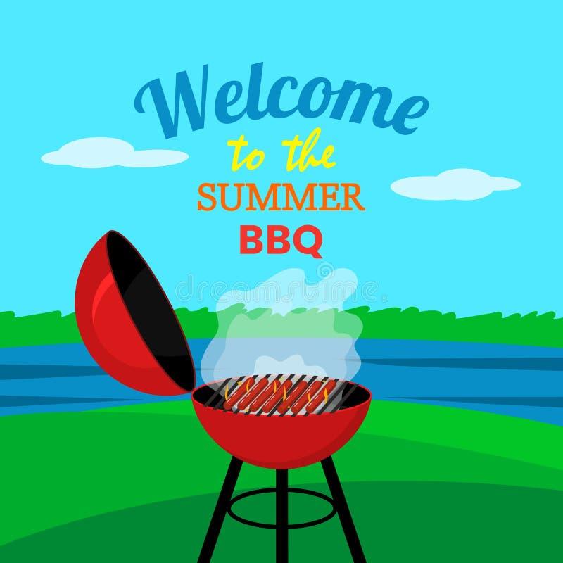 烤肉格栅露天在自然、森林和湖背景  夏天野营的概念 o 库存例证