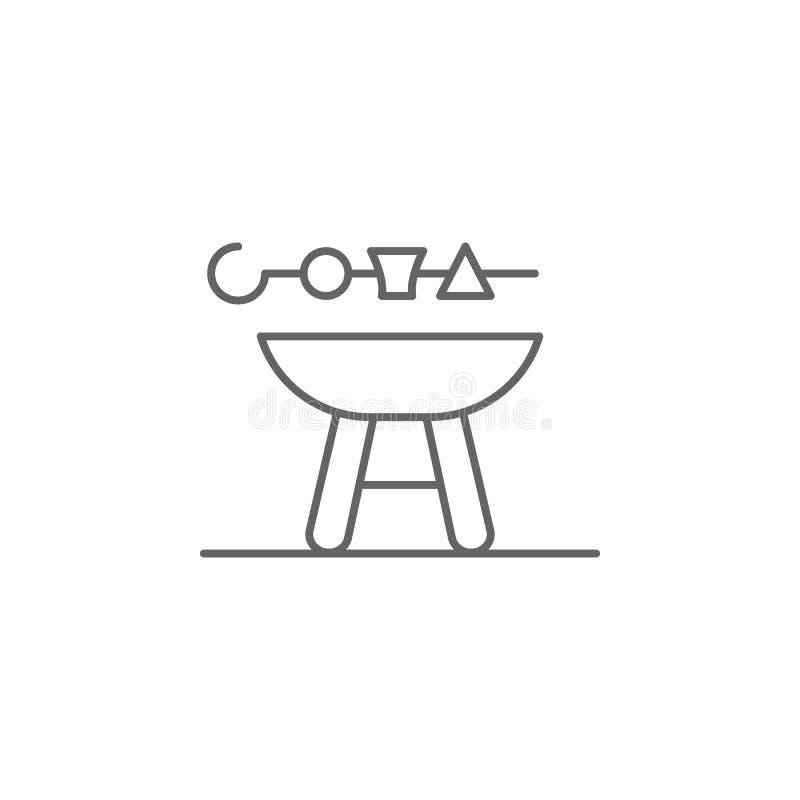 烤肉格栅香肠便当概述象 独立日例证象的元素 标志和标志可以使用为 库存例证