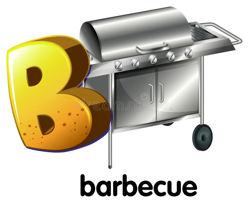 烤肉的一封信件B 库存例证