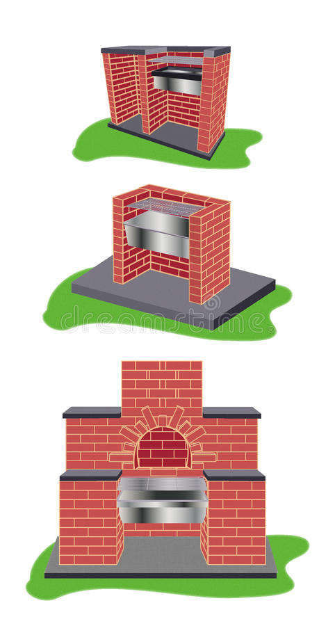 烤肉的三个模型 免版税库存图片