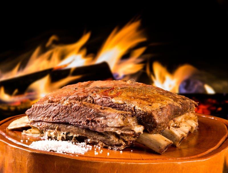 烤肉肋骨,传统巴西烤肉 免版税图库摄影