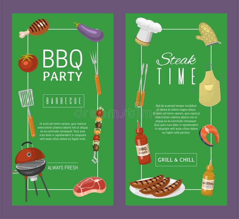 烤肉野餐党横幅在圆的热的烤肉格栅传染媒介例证烤的肉牛排 Bbq在公园,横幅 向量例证