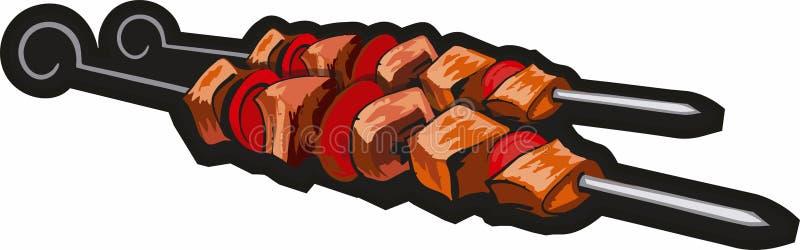 烤肉钢串 皇族释放例证