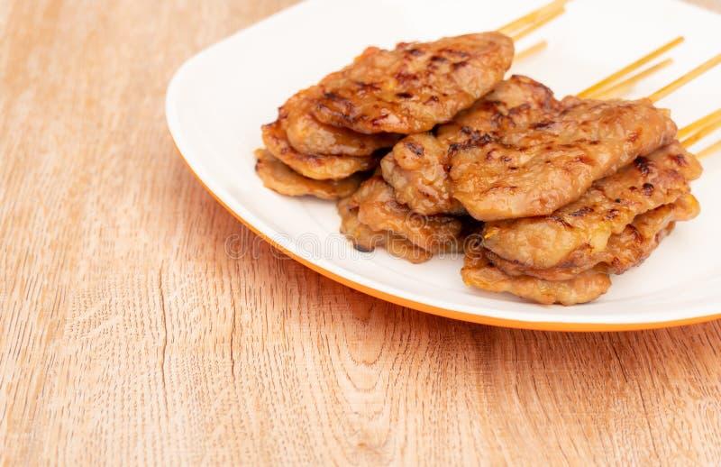 烤肉,泰国街道食物 库存照片