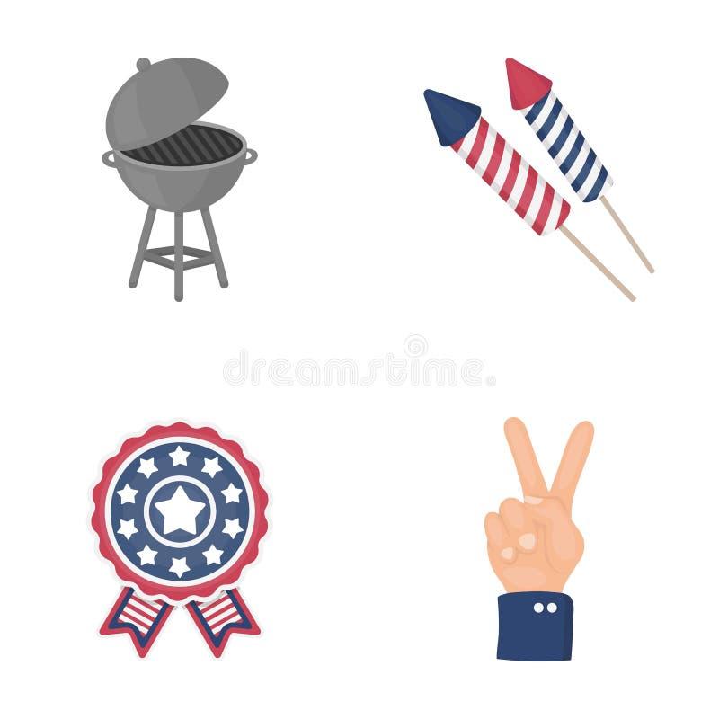 烤肉,致敬,投票的ebblema,胜利 在动画片样式的爱国者` s天集合汇集象导航标志股票 皇族释放例证