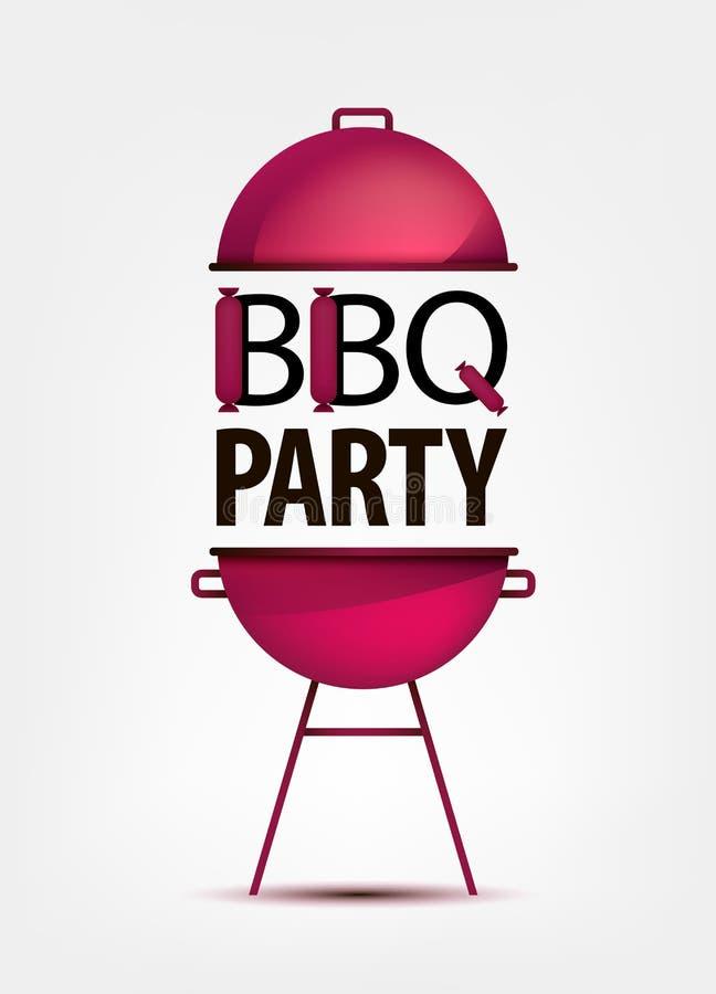 烤肉BBQ与格栅的党邀请 徽标 向量例证