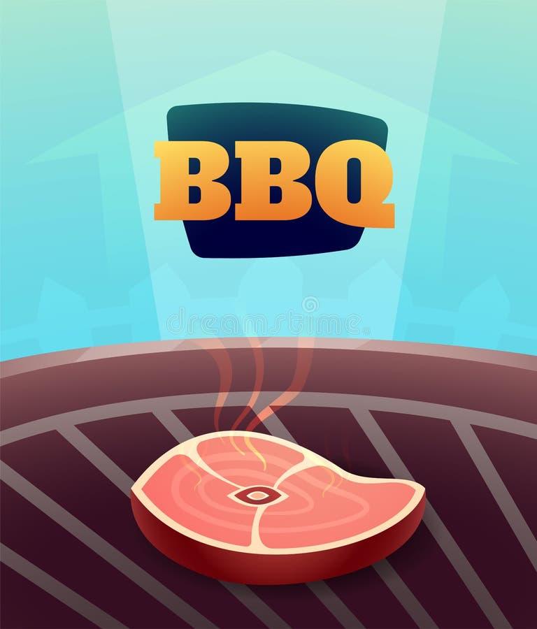 烤肉BBQ党邀请卡片,例证 皇族释放例证