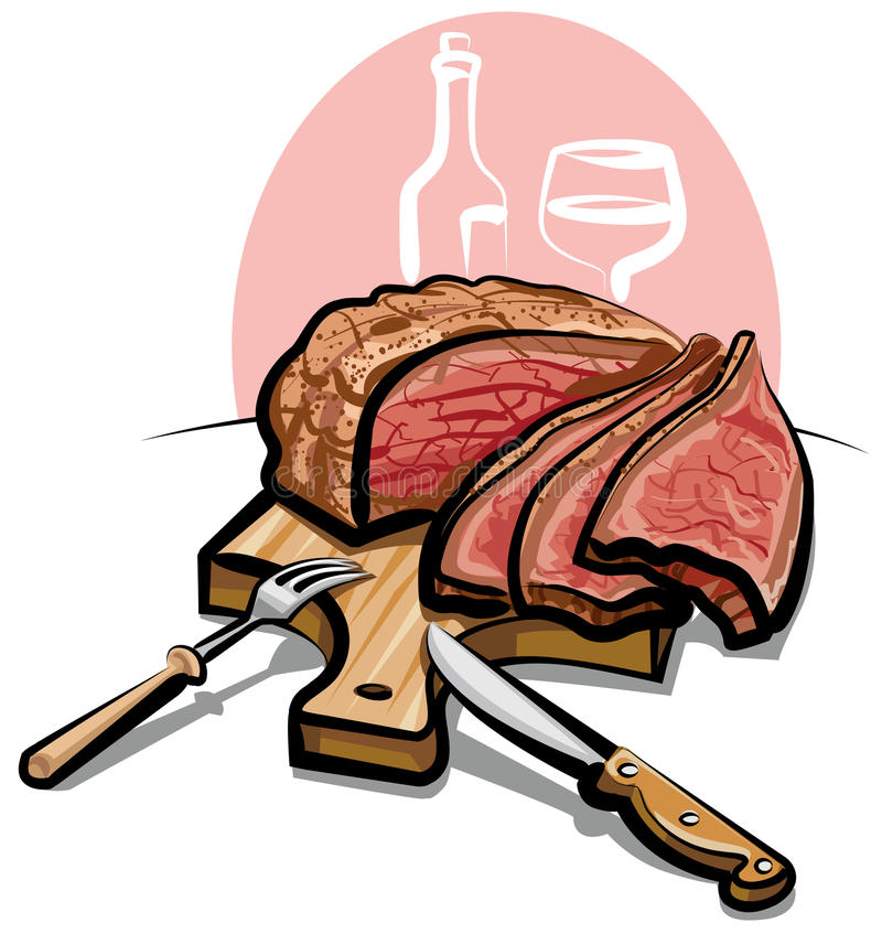 烤肋条肉 皇族释放例证