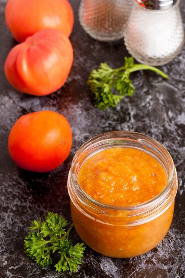 烤胡椒和其他菜浸洗用荷兰芹 素食主义者 图库摄影