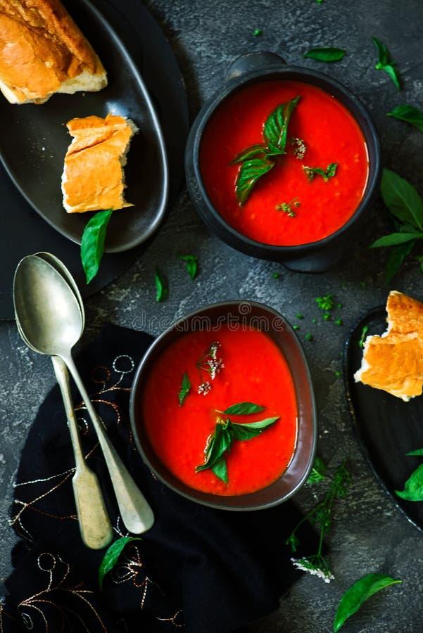 烤胡椒和蕃茄汤素食主义者 免版税库存图片