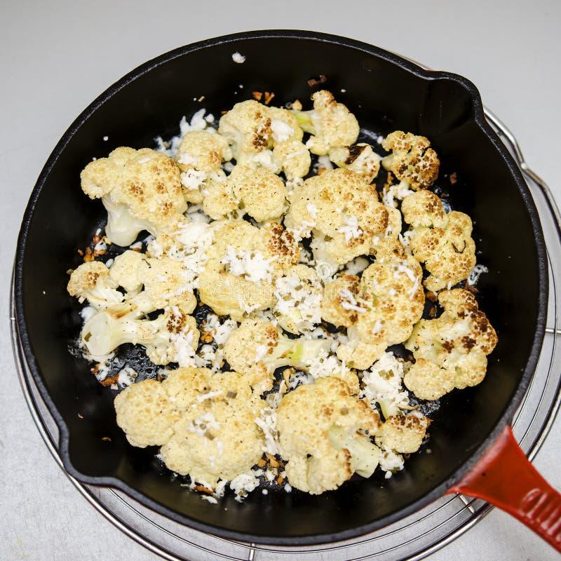 烤花椰菜用希脂乳 库存照片