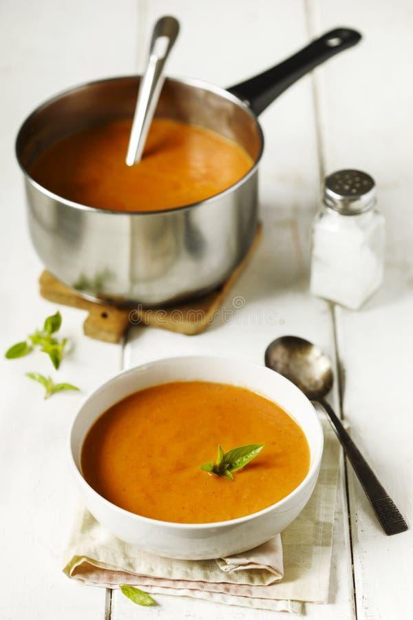 烤菜奶油色汤 蕃茄汤 图库摄影