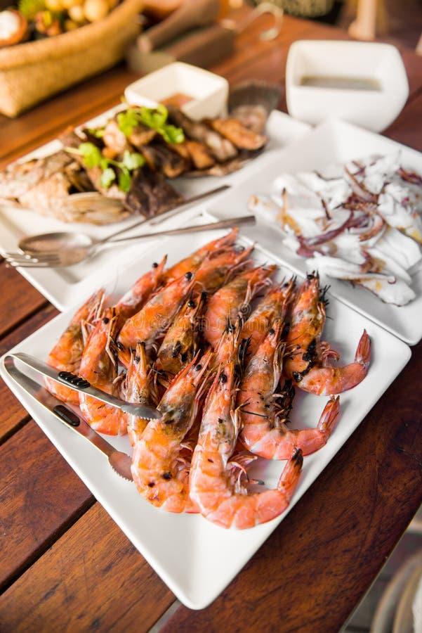 烤虾用辣海鲜调味料 库存照片