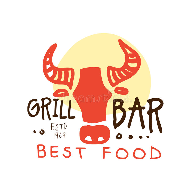 烤酒吧,最佳的食物商标estd 1969年模板手拉的五颜六色的传染媒介例证 皇族释放例证