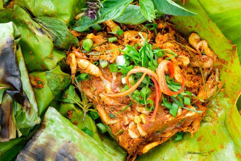 烤食物微小的虾咖喱  免版税库存图片
