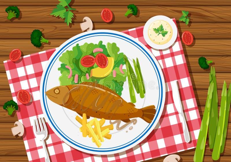 烤鱼和沙拉在板材 向量例证