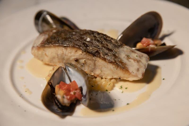 烤鱼排用贝类和调味汁在白色盘 图库摄影